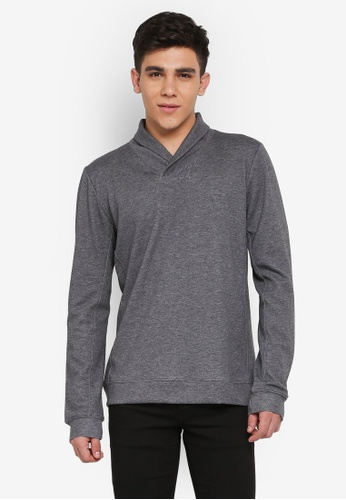 UniqTee grey Shawl Collar Sweatshirt 1FB13AAD1E92B2GS_1