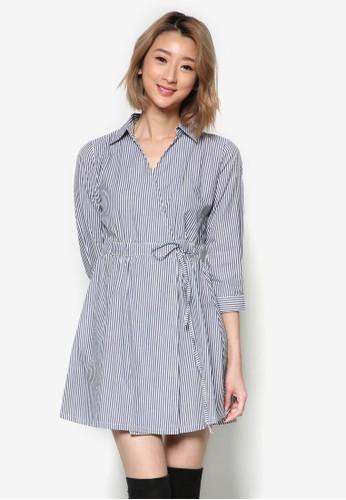 裹飾esprit專櫃腰帶細條紋連身裙, 服飾, 洋裝