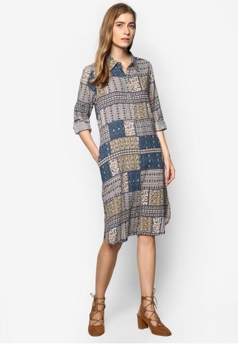 印花襯衫寬版連身裙, 服飾, 洋esprit outlet台北裝