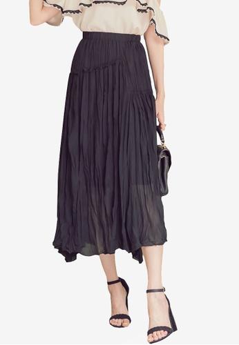 Yoco black Pleated Wrinkle Shape Dress F4EECAA164CC9DGS_1
