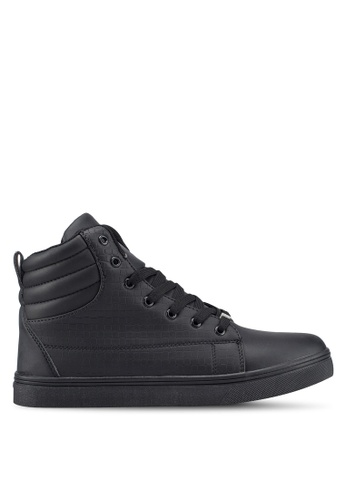 Rocklander black High Top Textured Sneakers FF194SH99A7E58GS_1