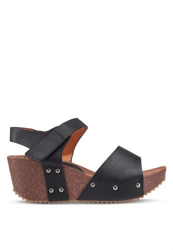 Noveni 黑色 Studded Velcro Wedges 97589SH351BE8BGS_1