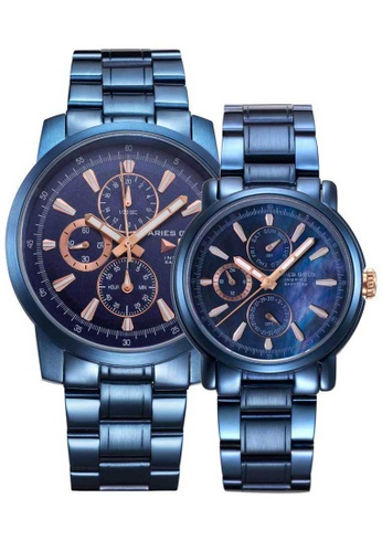 Aries Gold blue Aries Gold Couple Set -  Contender G 7301 & B 7302 BU-BURG Blue Stainless Steel Watch 2418BAC216FC90GS_1