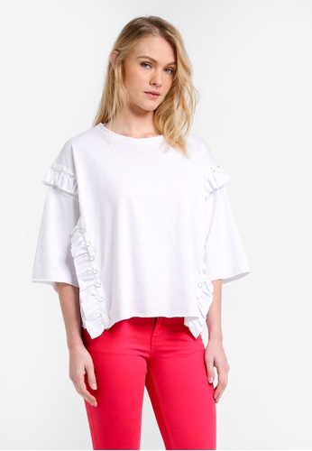 Mango white Ruffled Piercing Detail T-Shirt MA193AA0RMJDMY_1
