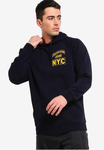 Calvin Klein 海軍藍色 CK Badge Nyc 帽T C6DB2AA8BA3D97GS_1