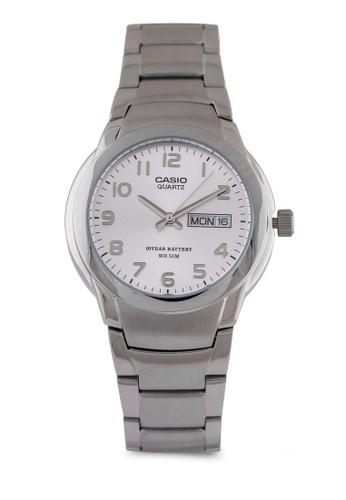 Casio MTP-1229D-7AVDF 數字esprit衣服目錄日期細鍊錶, 錶類, 不銹鋼錶帶