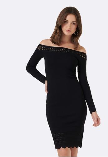 8706b00612b1a Buy Forever New Lydia Stitch Trim Bardot Dress Online on ZALORA ...