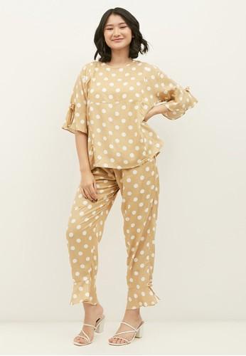 Monomom beige MONOMOM Baju Menyusui Set Piyama Sanur Polkadot Pyjamas 00CADAA8130193GS_1