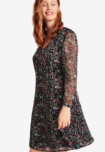 Violeta by MANGO black Plus Size Floral-Print Flowy Dress 91202AA7211581GS_1