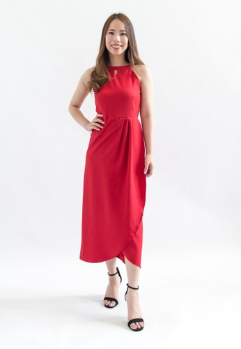 Love Knot red and pink and purple Viola Halter Midi Dress (Fuschia) F15E4AA9A99A59GS_1