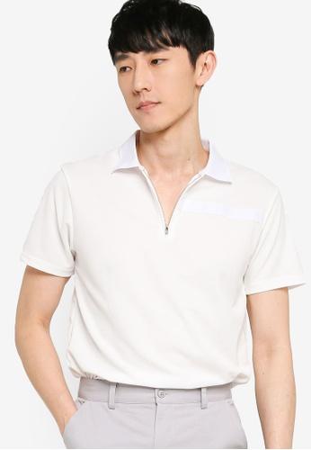 ZALORA BASICS white Contrast Trim Half Zip Polo Shirt A6628AA5640FCFGS_1