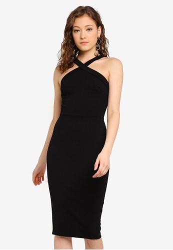 6c88d85b1c94 Buy Boohoo Halterneck Crossback Midi Dress Online on ZALORA Singapore