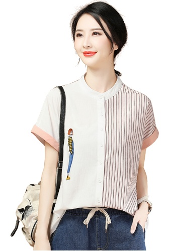 A-IN GIRLS white and pink Cartoon Embroidered Striped Blouse 92261AA6C72B09GS_1