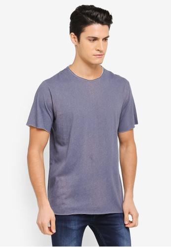 ZALORA 海軍藍色 不收邊短袖T恤 3D406AA78D6907GS_1
