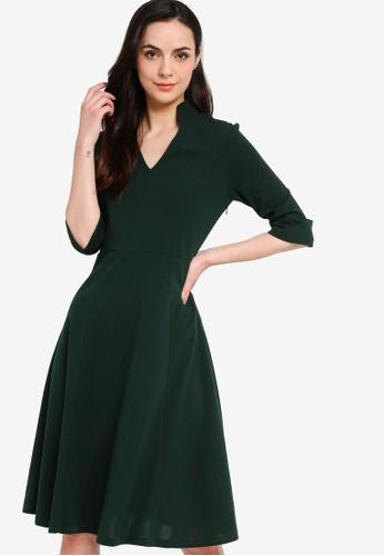 ZALORA WORK green Notch Neck Midi Shirt Dress 7D7FBAA99C3B88GS_1