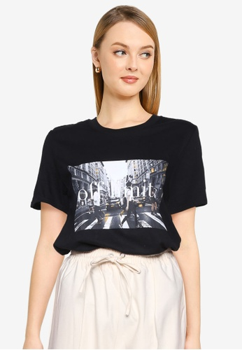 MISSGUIDED black Petite Off Limits Graphic Tee 03CBEAAAED2D77GS_1