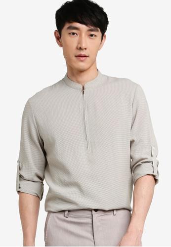 ZALORA BASICS grey Half Zip Stand Collar Short Sleeve Shirt 21380AAB513E7CGS_1