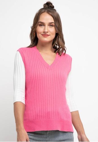 Peponi pink Vneck Rib Vest 0EA16AACD2AE1DGS_1