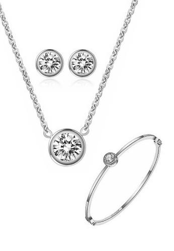 CELOVIS silver CELOVIS - Lux Classic Zirconia Bezel Solitaire Pendant Necklace + Earrings + Bangle Set (SILVER) BFD52ACD18D4ACGS_1