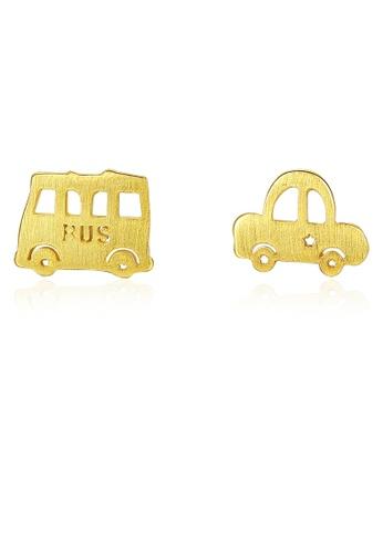 SUNRAIS gold High quality Silver S925 golden cartoon earrings 53354AC58E6726GS_1