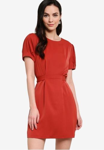 ZALORA WORK orange Tie Back Pleated Sleeves Dress 3FAC2AA1AA8B5AGS_1