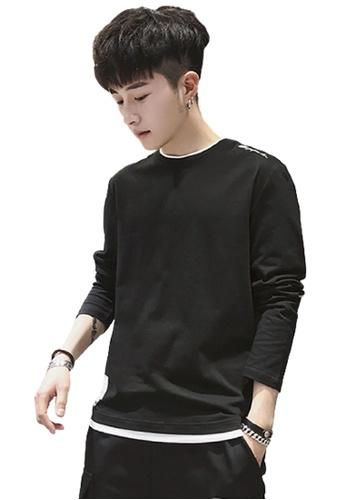 Trendyshop black Fake Two Layer Long Sleeves Tee 3CFEEAAD423A88GS_1