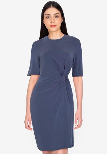 Origin by Zalora navy Drape Detail Dress made from TENCEL™ 1E8E9AA20D1015GS_1