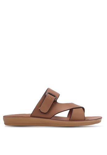 Noveni brown Double Strap Sandals NO978SH0RX33MY_1