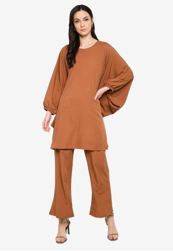 Butik Sireh Pinang brown Zalikha Blouse Suit Kaftan 824D6AA551C9A8GS_1