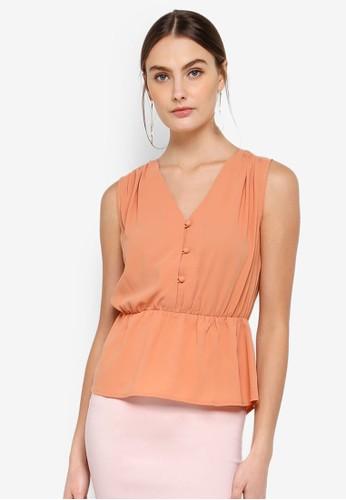 FORCAST orange Cecilia Gathered Waist Top 844FEAABA7B4A9GS_1