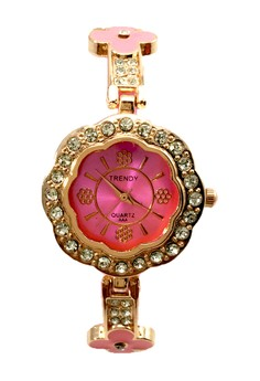 Trendy Women's Floral Silicone/Stainless Strap Watch