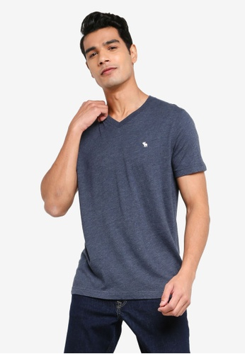 ABERCROMBIE & FITCH navy Icon V-Neck T-Shirt 8E8A6AAA5BF937GS_1