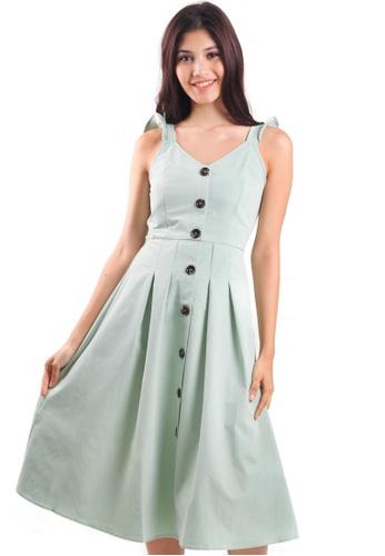 Kitschen green Ruffle Strap Midi Dress with Buttons DE06EAAAE4B62FGS_1