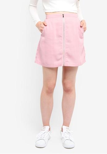 Something Borrowed pink Zip Through Mini Skirt F51BAAA246BB04GS_1