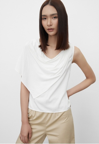 Pomelo white Sustainable Draped Effect Top - White 870C2AA52BFCEAGS_1