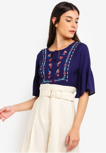 ZALORA navy Embroidered Relax Top 7738AAAF5F08B8GS_1