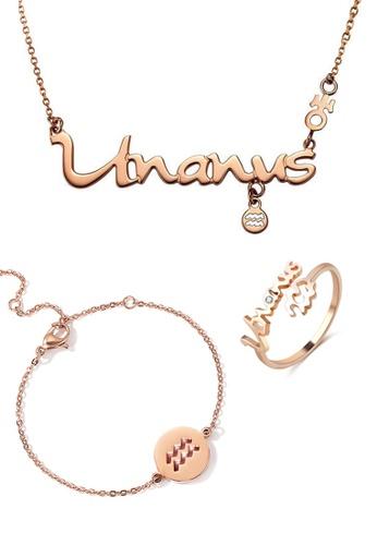 CELOVIS gold CELOVIS - Horoscope Aquarius God Of Protection Necklace + Ring + Bracelet Set E216DACCFF705FGS_1