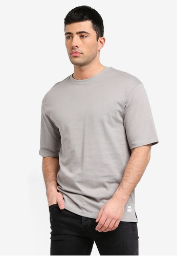 Only & Sons grey Andrew Box Fit Tee 59360AA34E520AGS_1