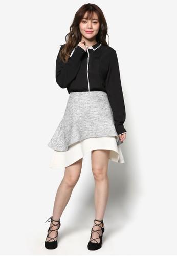 雙色層疊弧形esprit 台北短裙, 服飾, 裙子
