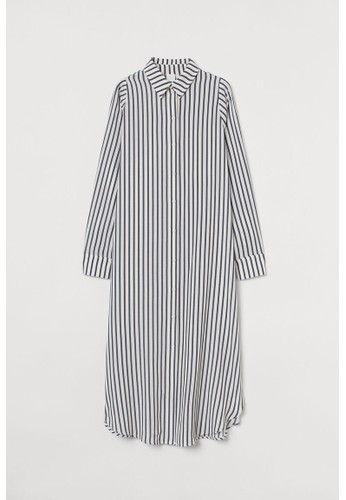 H&M white Calf-length shirt dress 64CD2AAE9BD7AFGS_1