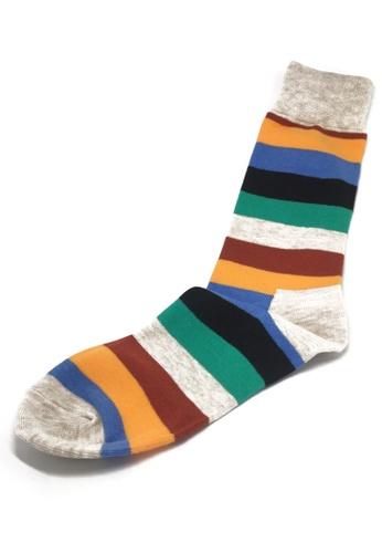 Splice Cufflinks Streaks Series Grey, Blue, Orange, Maroon and Green Stripes Socks SP744AA37XJYSG_1