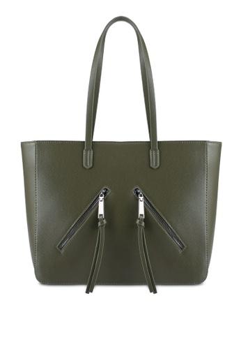 Something Borrowed green Zipper Detail Tote Bag 9C4DBAC5041AE5GS_1