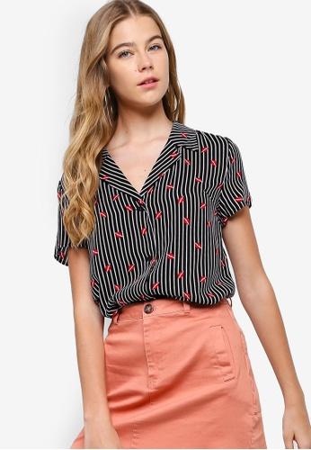 Something Borrowed black Printed Resort Shirt CA31FAADA91509GS_1