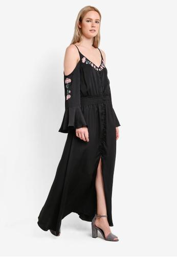 ZALORA black Collection Cold Shoulder Cami Dress 39228AA55A3F69GS_1