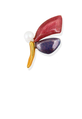 Glamorousky white Elegant and Simple Enamel Red and Purple Butterfly Brooch with Imitation Pearls BAAAFAC3647A7EGS_1