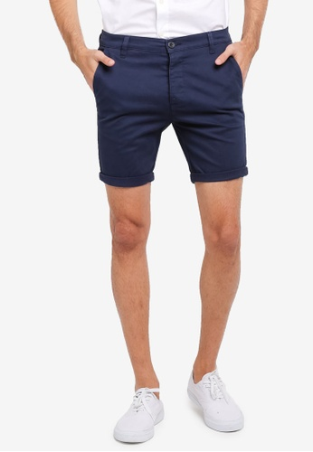 Topman blue and navy Navy Spray On Chino Shorts TO413AA0SR8PMY_1