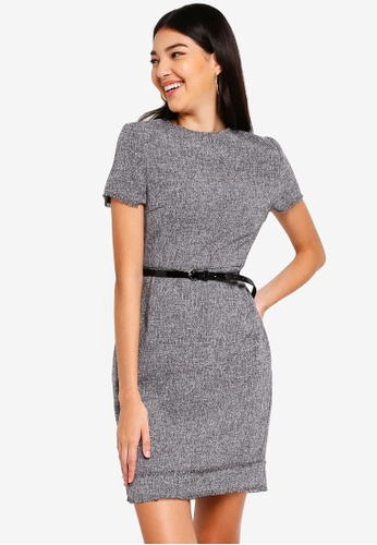 ZALORA grey and multi Fray Edges Tweed Dress A37E4AA85B4B5DGS_1