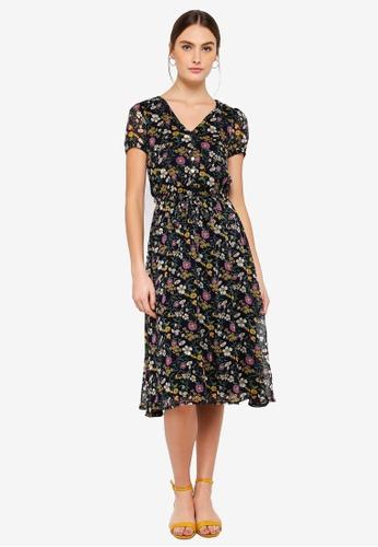 FORCAST multi and navy Miriam Tie Waist Dress 397BDAAF3920A8GS_1