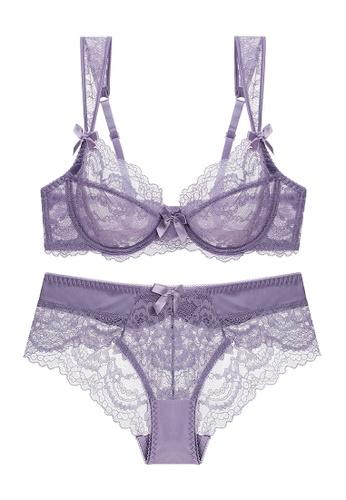 ZITIQUE purple Summer Lace Lingerie Set (Bra And Underwear) - Purple E0101US10D9EA8GS_1