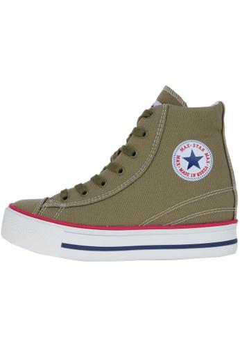Maxstar 綠色 新款韩国鞋C2-Line時尚帆布布混合女綠色 US Women Size MA345SH38HDHTW_1